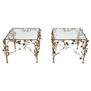 Hollywood Regency Gold and Glass Side Tables, 1950s, Usa For Sale