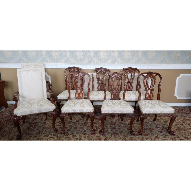 High Top Tier Karges Furniture Mahogany Chippendale Dining Room Chairs - Set of 8 For Sale - Image 12 of 12