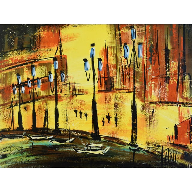 """Circa 1950s midcentury European cityscape oil painting. Singed lower right (illegible) """"Thni?"""" Displayed in a painted wood..."""
