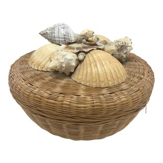 Vintage Shell Topped Basket For Sale