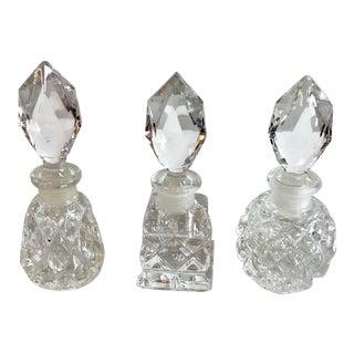 Vintage Mid Century Crystal Perfume Bottles - Set of 3 For Sale