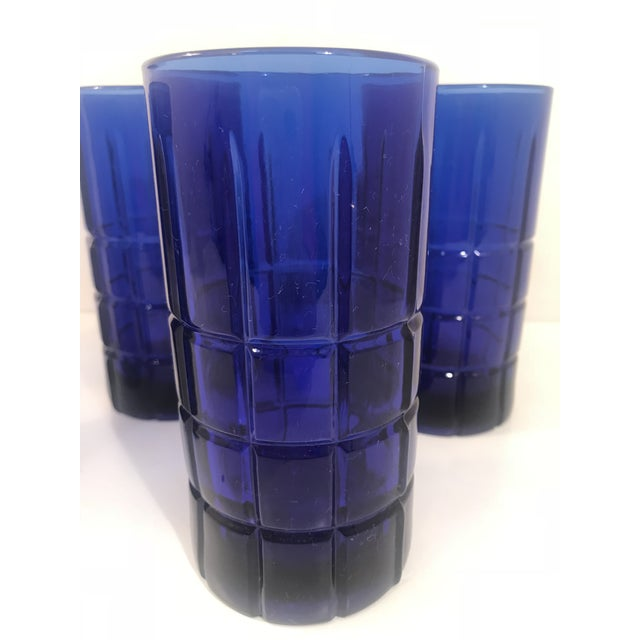 Vintage Anchor Hocking tartan cobalt blue 12 oz tumbler, tea, or water glasses. Set of 5. 1 set of 4 in light blue available.