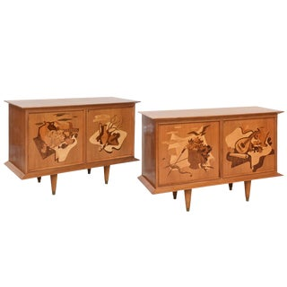 Fine Pair of Walnut and Inlaid Wood Two-Door Credenza, Luigi Scremin For Sale