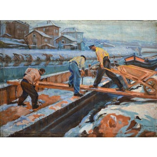"""1920s Vintage """"Loading a Houseboat in Winter"""" Oil Painting on Canvas by Ossy De Perelma, Signed For Sale"""