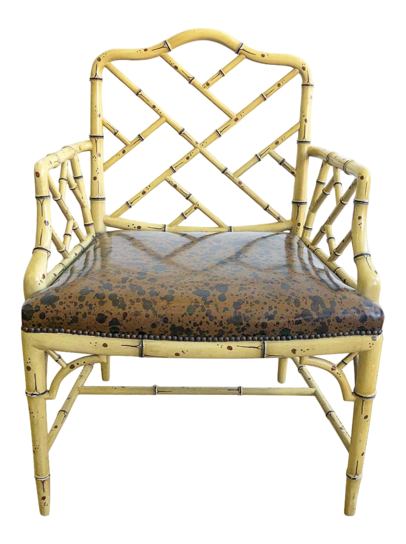 vintage 60s furniture. Vintage 60s Faux Bamboo Chippendale Arm Chair In Tortoise Style Painted  Finish For Sale Vintage Furniture M