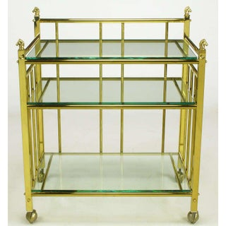 Three Tiered Brass & Glass Bar Cart With Horse Head Details Preview