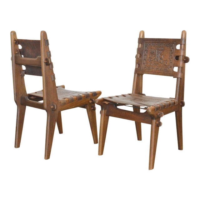 Set of Six Ecuadorian Dining Chairs by Angel Pazmino, 1960's For Sale