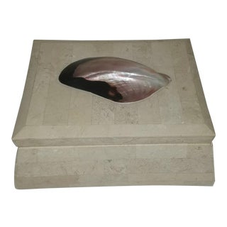 1980s Tessellated Ivory Marble and Shell Box For Sale
