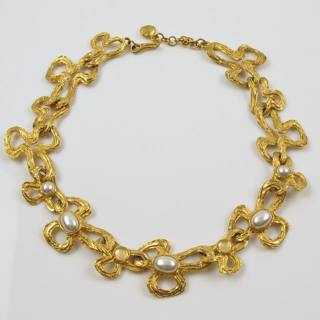 Lanvin Paris Choker Necklace Gilt Metal Pearl and Glass Cabochon For Sale - Image 4 of 10