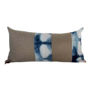 Pieced Hand Dyed Indigo Linen Lumbar Pillow For Sale
