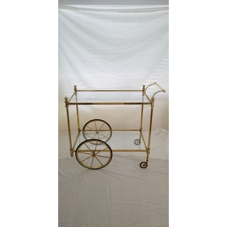 1960s Hollywood Regency Style Brass Bar Serving Cart Preview