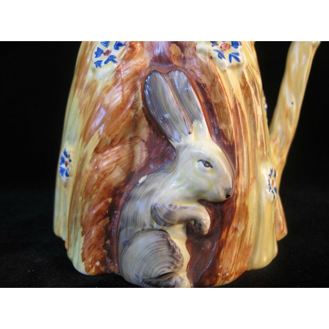 Darling Burleigh (Burgess & Leigh) Art Deco era pitcher or vase in mostly bright yellow with rabbit perched in wheat and...