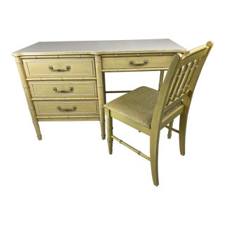 "1960s Hollywood Regency Henry Link ""Bali Hai"" Faux Bamboo Desk W/ Chair - 2 Pieces For Sale"