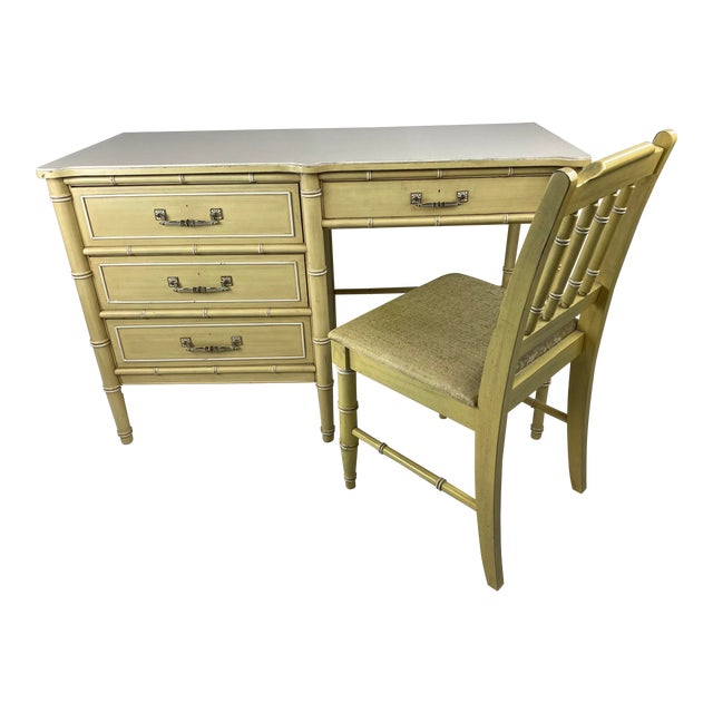 """1960s Hollywood Regency Henry Link """"Bali Hai"""" Faux Bamboo Desk W/ Chair - 2 Pieces For Sale"""