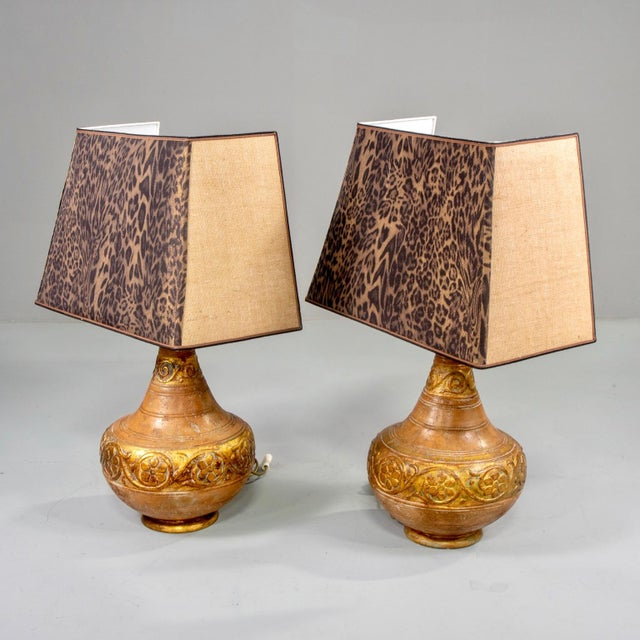 Mid-Century Italian Terra Cotta Lamps With Leopard Print Shades - a Pair For Sale In Detroit - Image 6 of 9