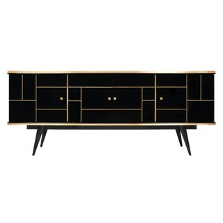 French Black Glass Vintage Buffet
