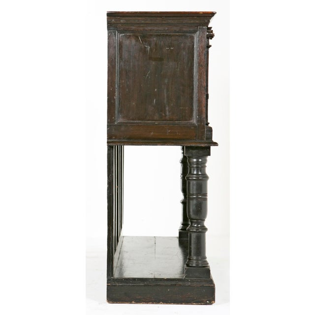 English Traditional 19th Century English Elizabethan Style Dark Stain Oak Cupboard For Sale - Image 3 of 6