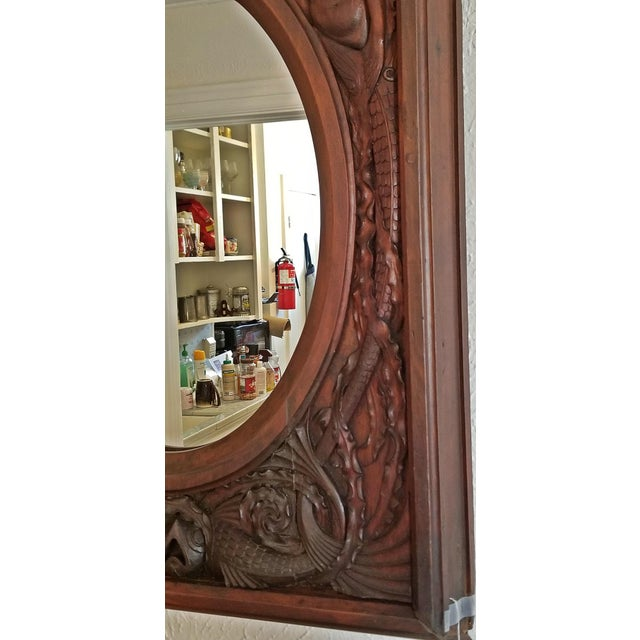 Glass 19c American Dark Walnut Wall Mirror With Mermaids - Important For Sale - Image 7 of 12