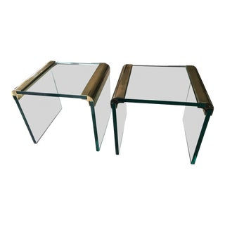1970s Vintage Leon Rosen for Pace Collection Brass & Glass Waterfall Cocktail Tables - a Pair For Sale
