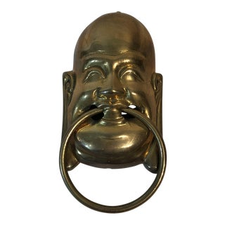 Vintage Solid Brass Buddha Door Knocker For Sale