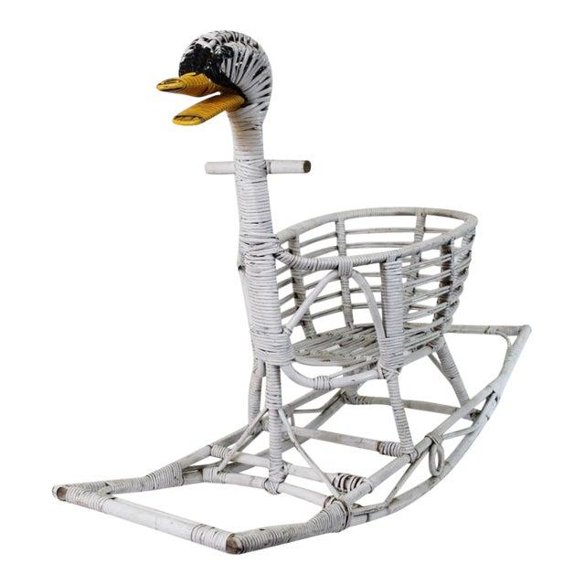 Mid Century Rattan Swan Rocker For Sale