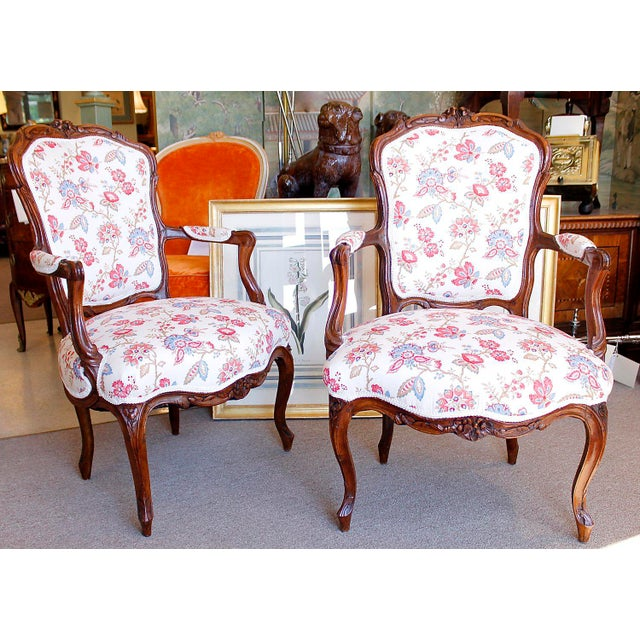 A Pair of Walnut and Beechwood Cartouche Back French Armchairs, Second Half of the 18th Century. the Frames Are Composed...