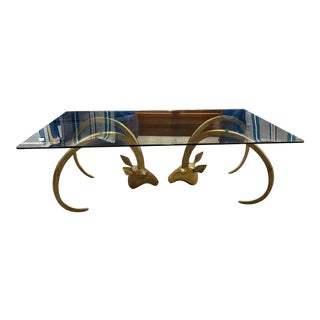 Brass Ram Head Coffee Table With Glass Top For Sale