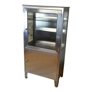 Vintage Industrial Stainless Steel Medical Cabinet by Blinkman For Sale