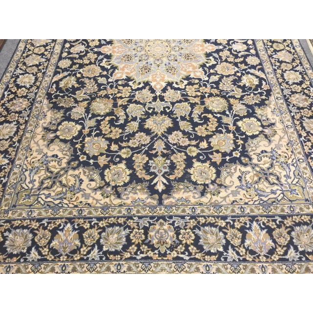 Traditional Tabriz carpet with cobalt blue ground and shade of blue thru out. In excellent condition. No stains , etc....