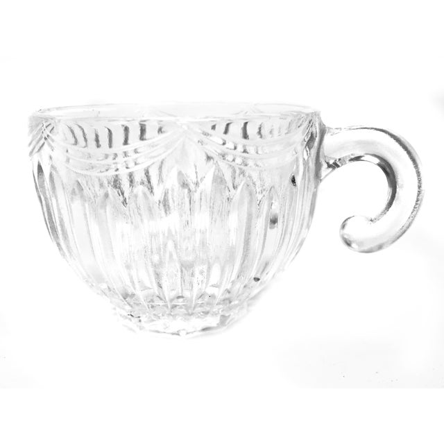 Art Deco Vintage Lancaster Glass Co. Mid Century Royal Drape Punch Cups and Bowl For Sale - Image 3 of 5