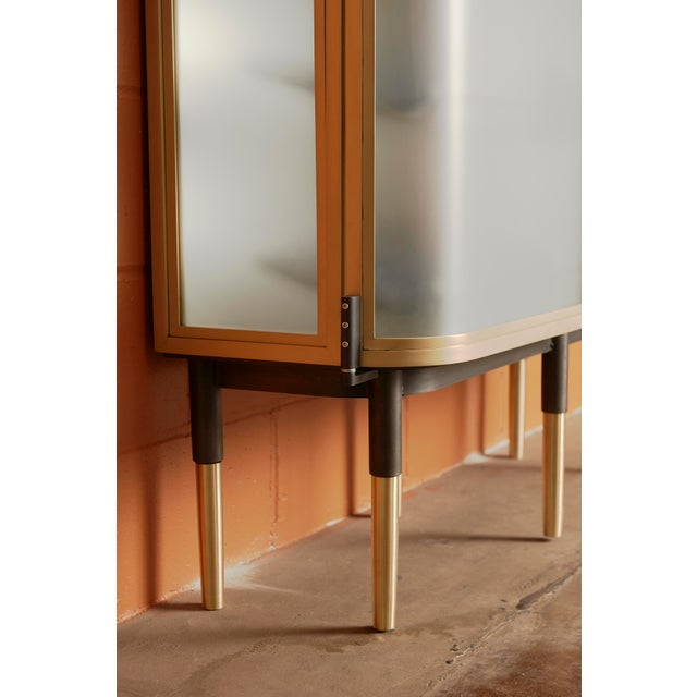 Plano Bar Cabinet in Bronze, Curved Glass Doors, Waxed Leather Bottle Slings For Sale In Chicago - Image 6 of 12