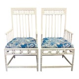 Image of Chinese Chippendale Bamboo Arm Chairs - a Pair For Sale