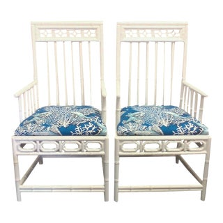 Chinese Chippendale Bamboo Arm Chairs - a Pair