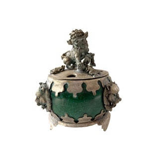 "Asian Stone and Silver Incense Burner 3"" H For Sale"