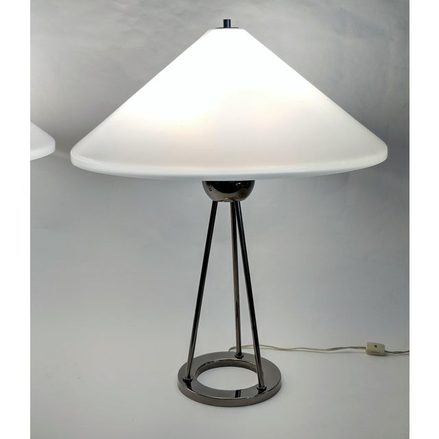 1970s Vintage Van Nessen Chrome and Lucite Table Lamps - A Pair For Sale In Miami - Image 6 of 13