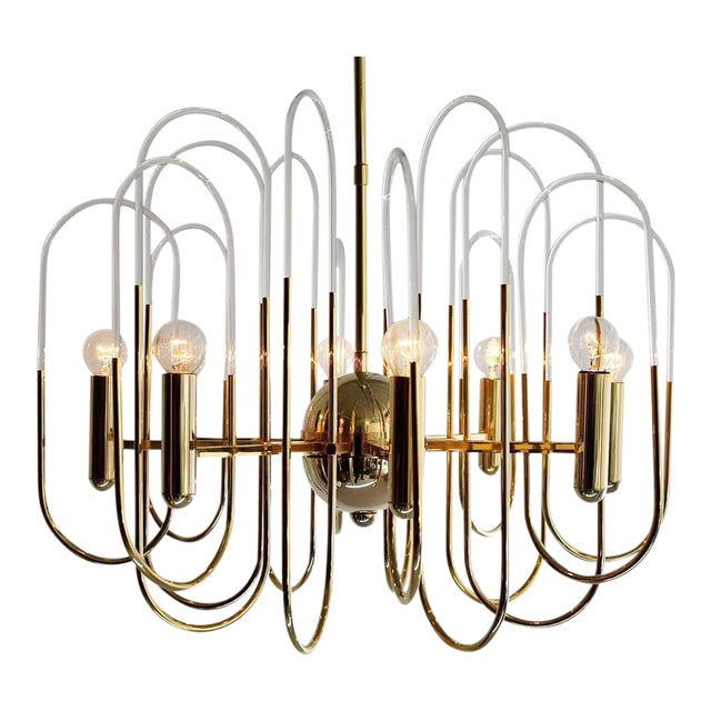 Incredible gaetano sciolari brass and glass chandelier decaso gaetano sciolari brass and glass chandelier image 1 of 11 mozeypictures Images