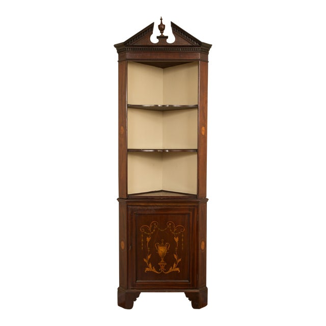 19th Century English Edwardian Inlaid Mahogany Open Corner Cabinet For Sale