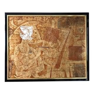 Mid-Century Cubist Original Painting on Cork of Artist For Sale