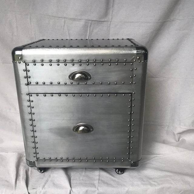 Metal Contemporary Restoration Hardware Style Aviator Two Drawer Side Table For Sale - Image 7 of 7
