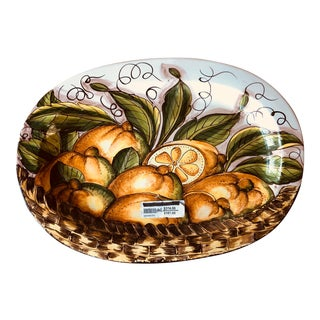 Italian Hand Painted Oval Platter For Sale