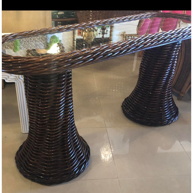 Vintage Double Pedestal Braided Wicker Console Table For Sale - Image 11 of 12