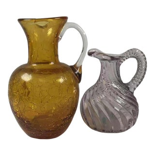 Early 20th Century Pilgrim Glass Amber Crackle Glass Pitcher - a Pair For Sale
