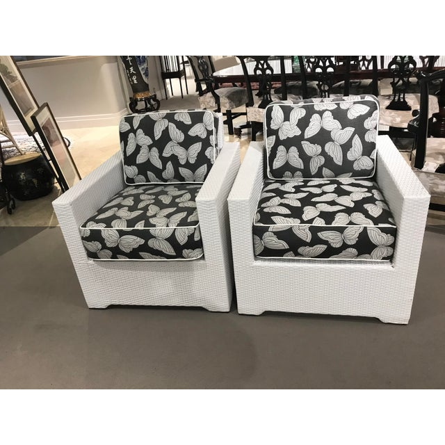 Pair of Frontgate Palermo Small Lounge Chairs with custom Sunbrella Cushions, includes outdoor covers.