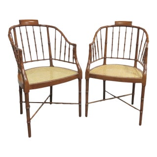 Baker Faux Bamboo Caned Seat Chairs- a Pair For Sale