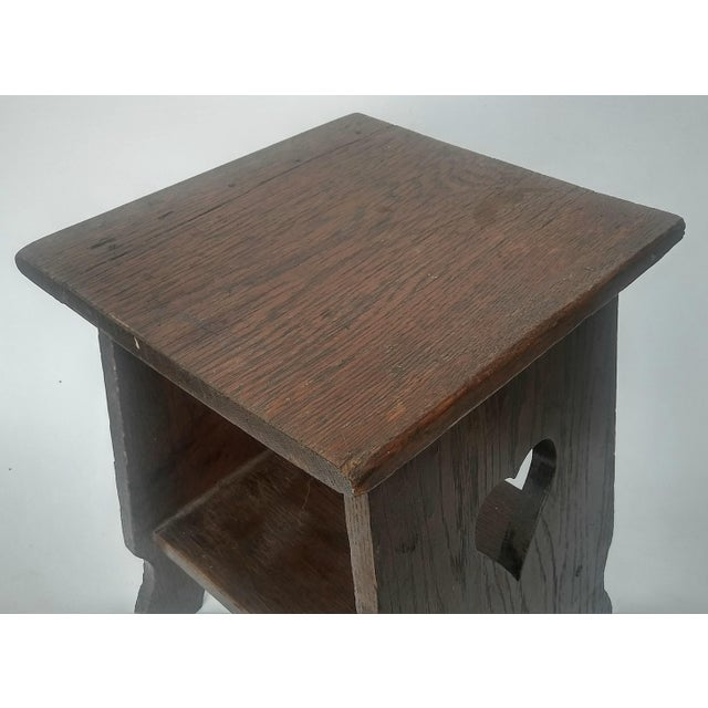 Arts & Crafts Mission Oak Side Table with Heart Cut Outs - Image 4 of 6