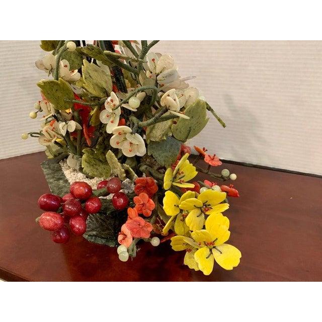 Mid 20th Century Vintage Chinese Export Hardstone Basket Floral Arrangement For Sale - Image 5 of 13