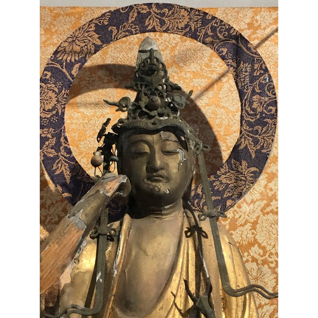 Japanese Carved Wood Kannon Bosatsu, Edo Period, 19th century For Sale In Austin - Image 6 of 8