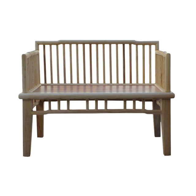 Zen Unfinished Wood Double Seat Bench - Image 1 of 6