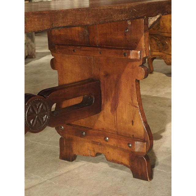 18th Century Antique Walnut Refectory Table From Tuscan Mountain Region C. 18th Century For Sale - Image 5 of 13