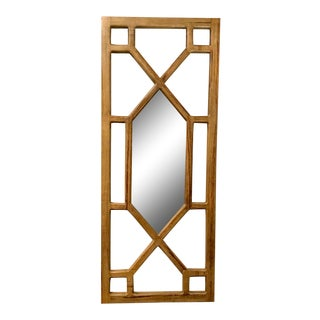 Large Modern Blonde Wood Fret Work Wall Mirror For Sale